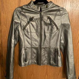 Forever 21 metallic grey leather jacket